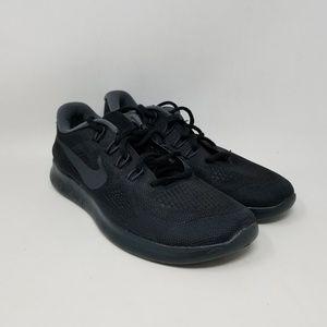 Nike Free RN 2017 Black Athletic Sneakers Womens 8